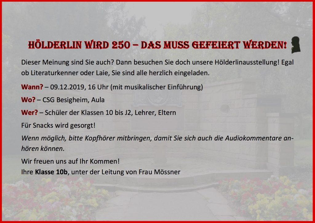 Hölderlin wird 250 - das muss gefeiert werden!